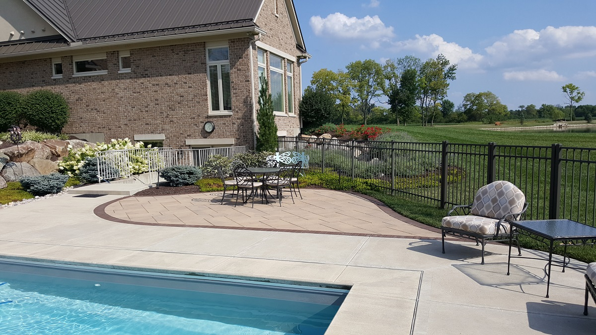 Backyard seating area with pool